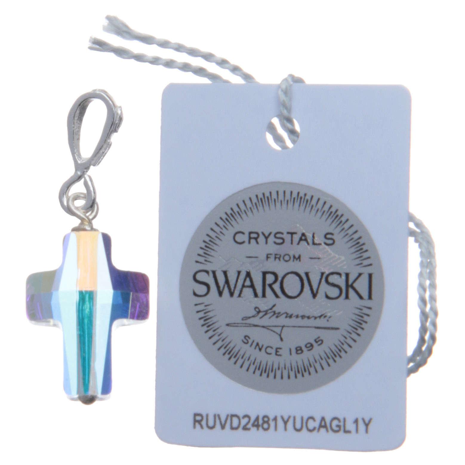 Croce pendente in cristallo Swarovski bianco e Arg. 800 cm 1,5x1 4