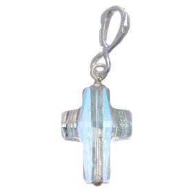 Croce pendente in cristallo Swarovski bianco e Arg. 800 cm 1,5x1 s1