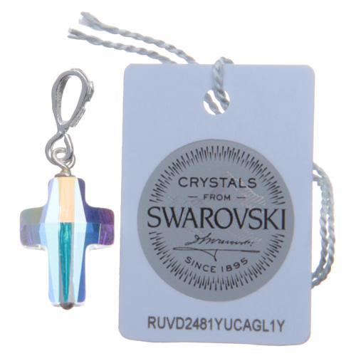 Croce pendente in cristallo Swarovski bianco e Arg. 800 cm 1,5x1 2