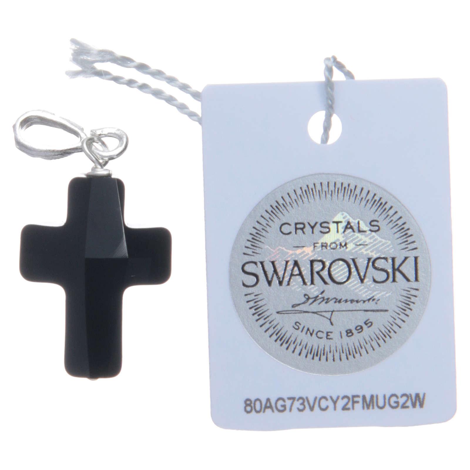 Cruz colgante cristal Swarovski negro y Plata 925 2 x 1,5 cm 4
