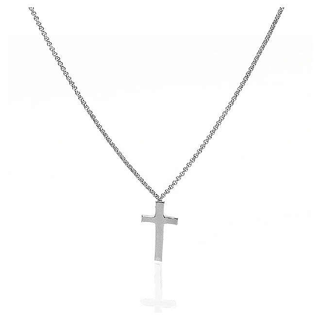 Collana AMEN Croce argento 925 fin. Rodio 4