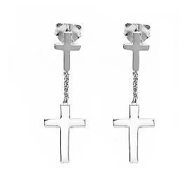 Orecchini AMEN Croce classica argento 925 fin. Rodio s1