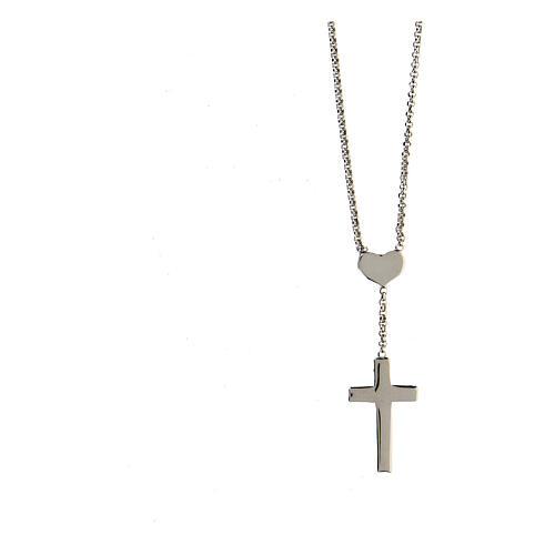 Collar AMEN Corazón y Cruz plata 925 acabado Rodio 2