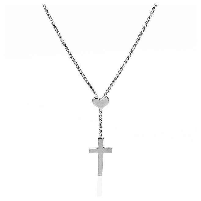 Collana AMEN Cuore e Croce argento 925 fin. Rodio 4