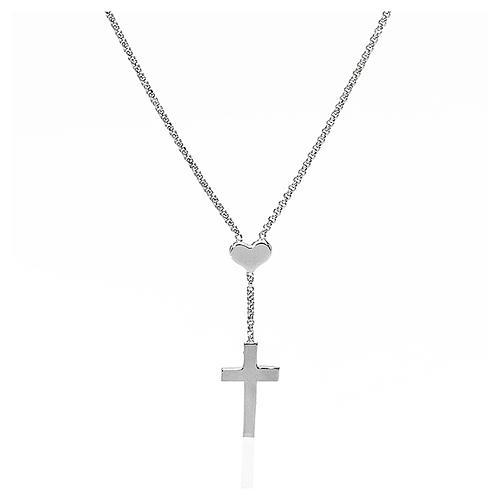 Collana AMEN Cuore e Croce argento 925 fin. Rodio 1