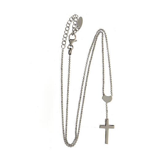 Collana AMEN Cuore e Croce argento 925 fin. Rodio 3