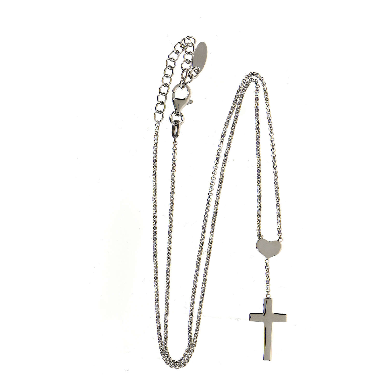 Necklace AMEN Heart and Cross silver 925 Rhodium finish 4