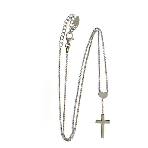 Necklace AMEN Heart and Cross silver 925 Rhodium finish 3