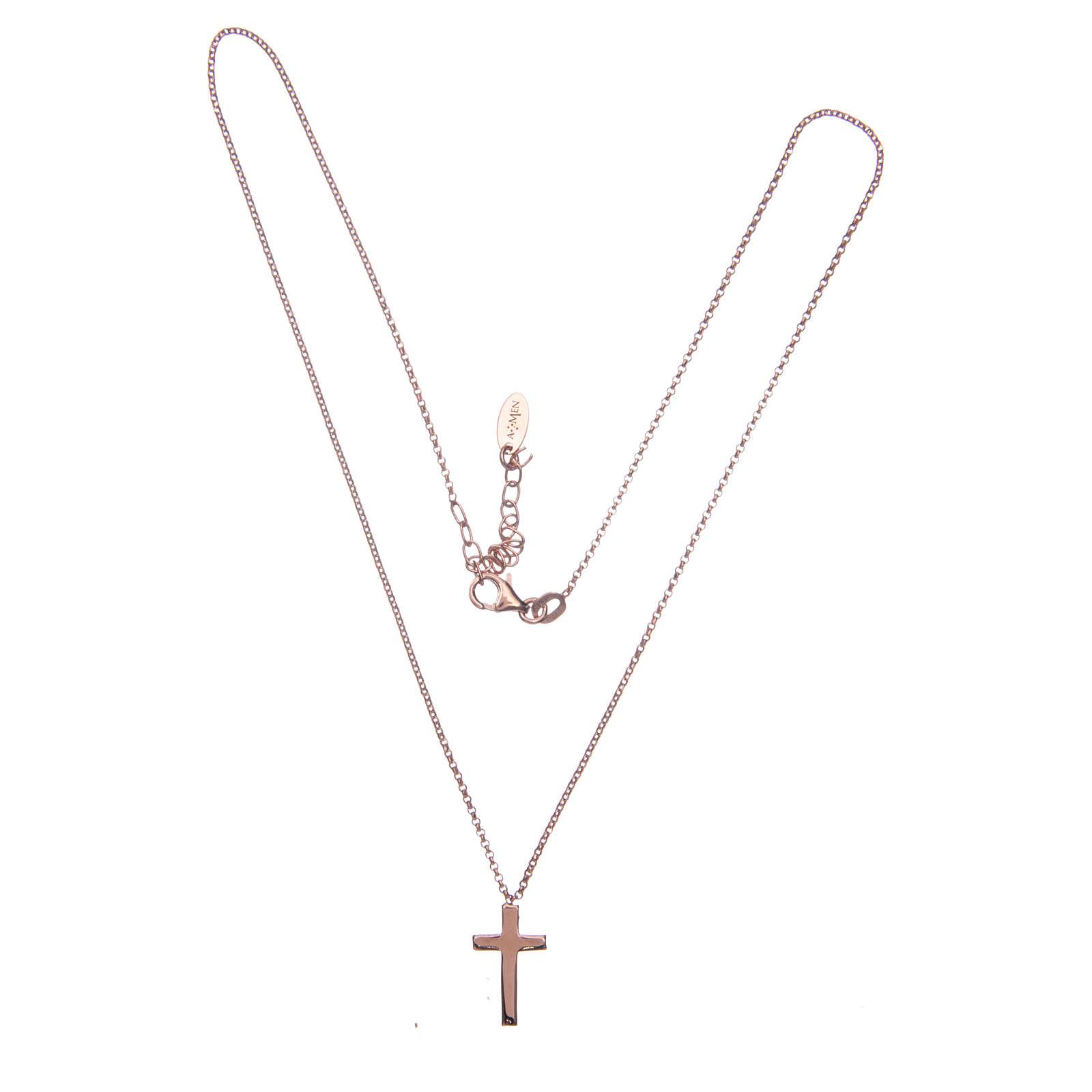 Collana AMEN Croce argento 925 fin. Rosè 4