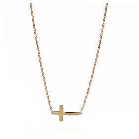 Collana AMEN Croce classica argento 925 fin. Rosè s1