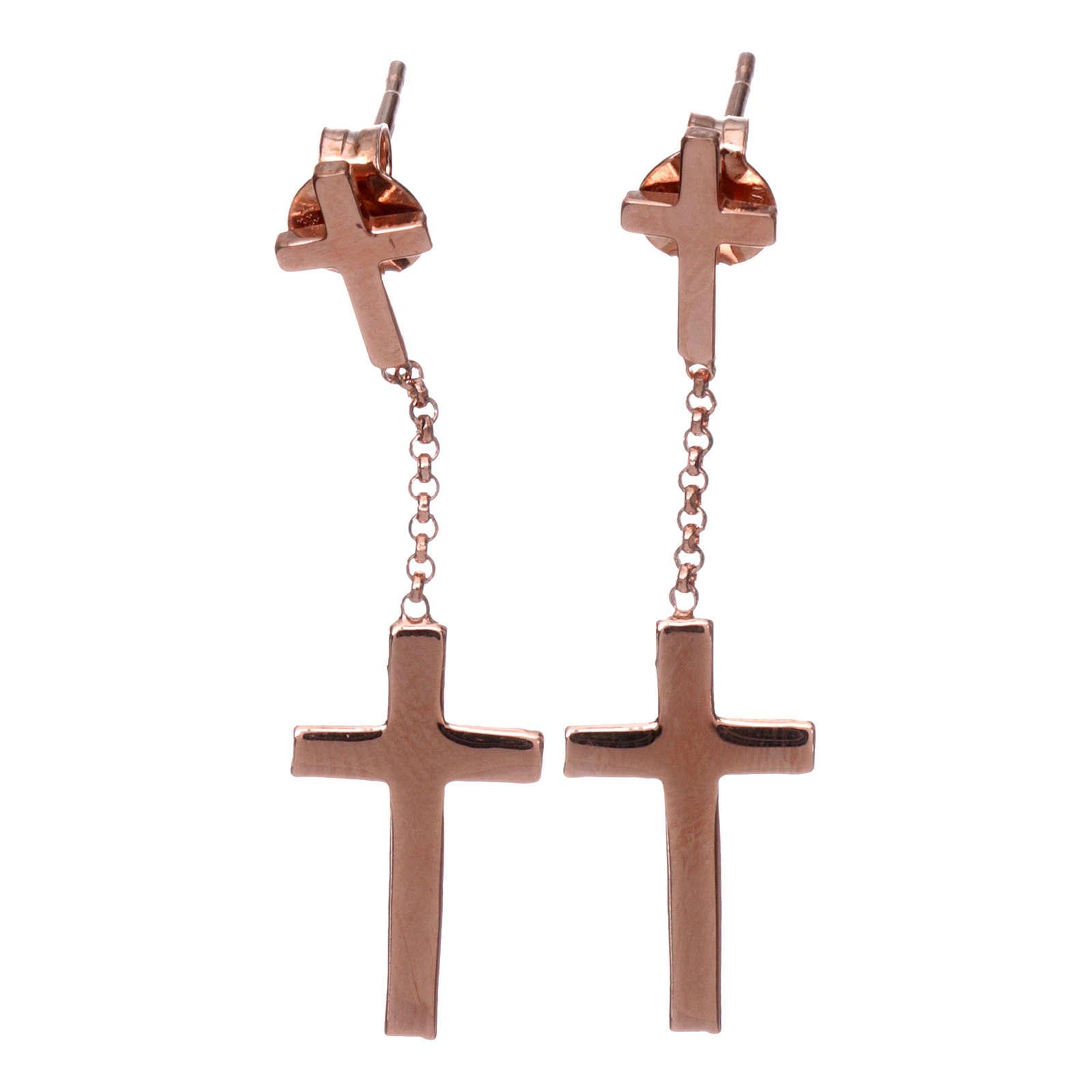 Pendant Earrings AMEN Cross stud, silver 925 rhinestones Rosè finish 4