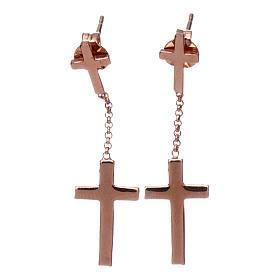 Pendant Earrings AMEN Cross stud, silver 925 rhinestones Rosè finish s1