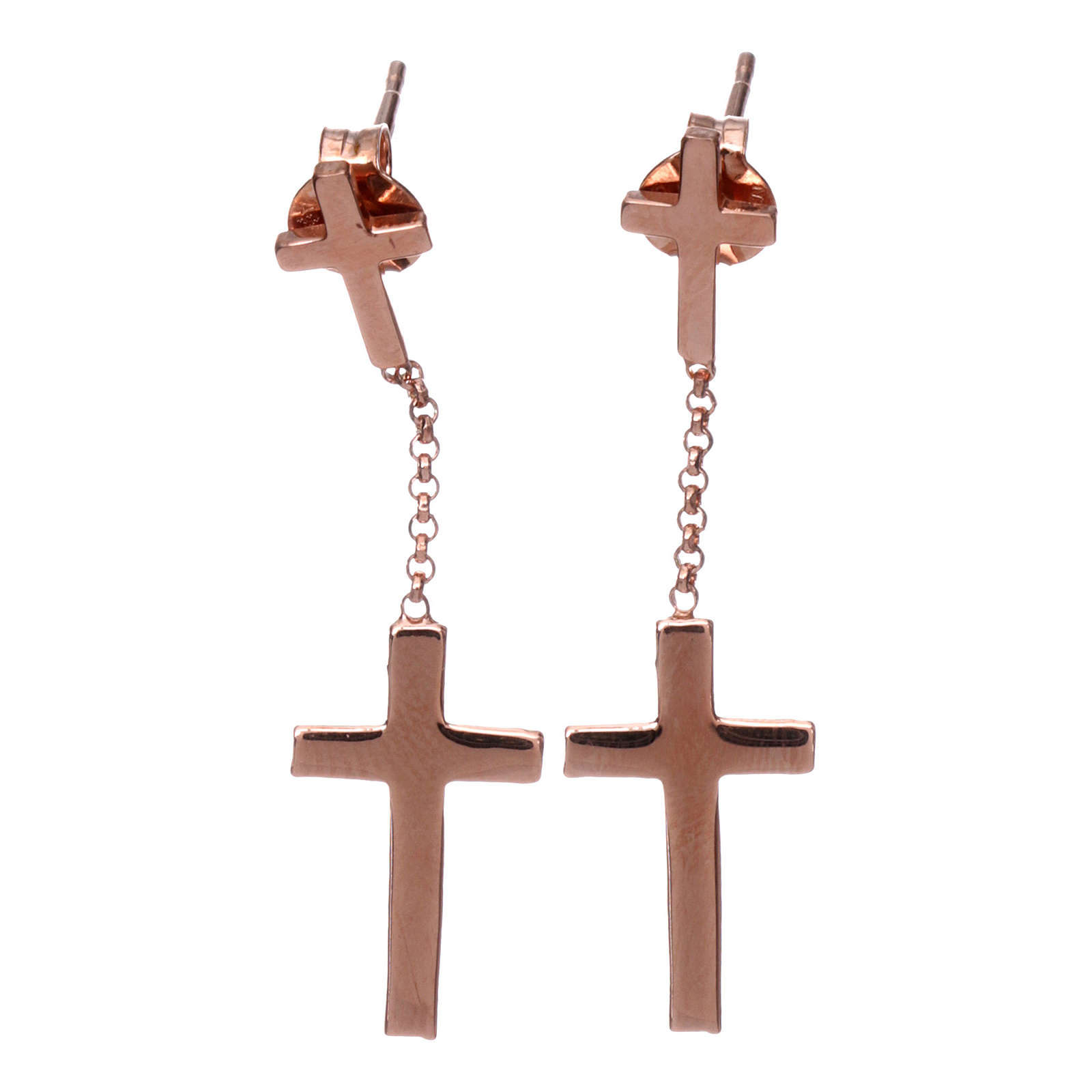 Boucles AMEN croix argent 925 zircons fin. rosée 4