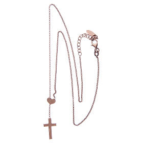 Necklace AMEN Heart and Cross silver 925 Rosè finish s5
