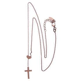 Necklace AMEN Heart and Cross silver 925 Rosè finish s2