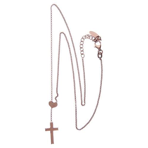 Necklace AMEN Heart and Cross silver 925 Rosè finish 5