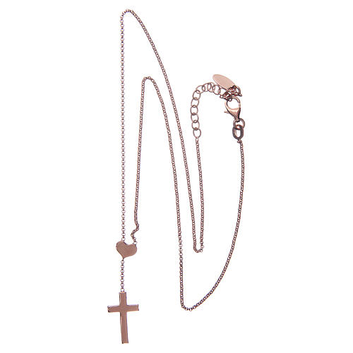 Necklace AMEN Heart and Cross silver 925 Rosè finish 2