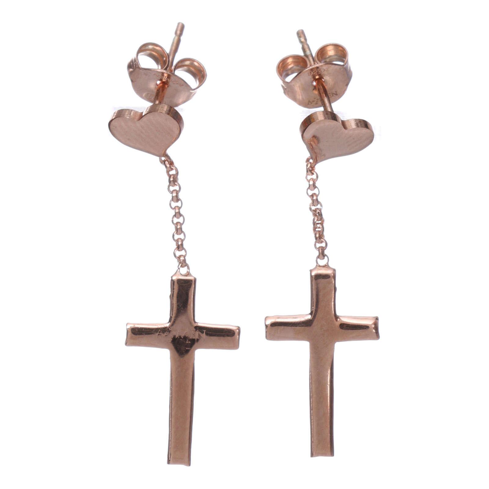Boucles AMEN croix coeur argent 925 zircons fin. rosée 4