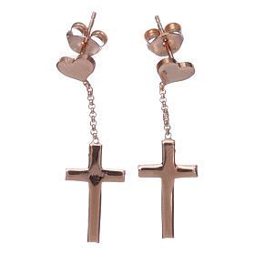 Boucles AMEN croix coeur argent 925 zircons fin. rosée s1