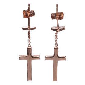 Boucles AMEN croix coeur argent 925 zircons fin. rosée s2