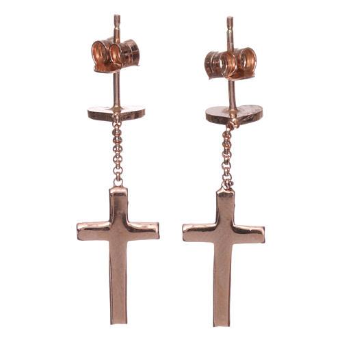 Boucles AMEN croix coeur argent 925 zircons fin. rosée 2