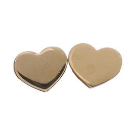 Pingentes, Cruzes, Broches, Correntes: Brincos tipo botão AMEN Coração prata 925 acab. ouro