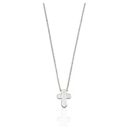 AMEN Necklace rounded Cross silver 925 Rhodium finish 1