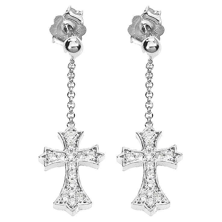 Boucles d'oreilles AMEN croix pointue argent 925 zircons fin. rhodium 4