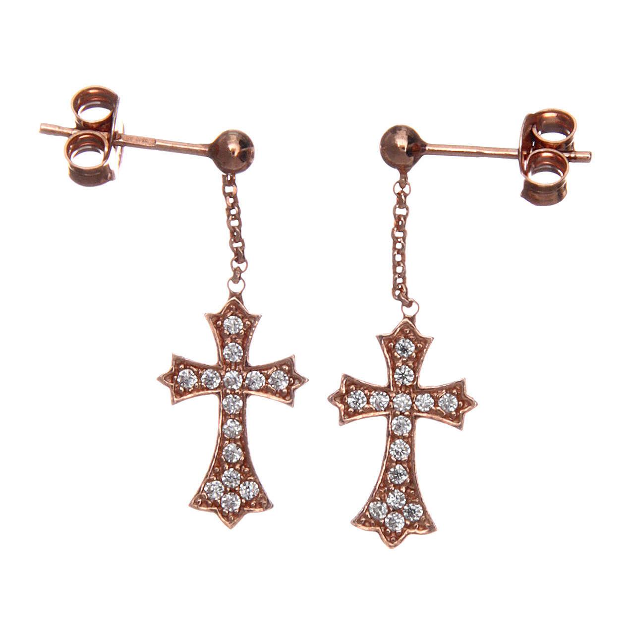 Orecchini AMEN Croce punta argento 925 zirconi fin. Rosè 4