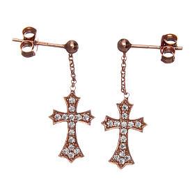 Orecchini AMEN Croce punta argento 925 zirconi fin. Rosè s1