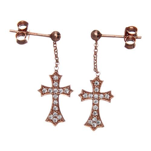 Orecchini AMEN Croce punta argento 925 zirconi fin. Rosè 1