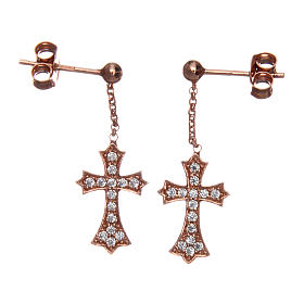 Pingentes, Cruzes, Broches, Correntes: Brincos AMEN cruz pontiaguda prata 925 zircões acab. rosê
