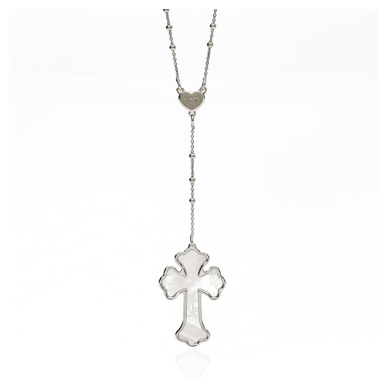 AMEN Necklace Heart and Cross silver 925, mother-of-pearl Rhodium finish 4