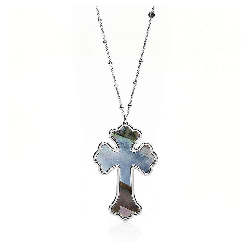Collana AMEN Croce argento 925 madreperla grigia fin. Rodio 4
