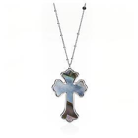 Collana AMEN Croce argento 925 madreperla grigia fin. Rodio s1