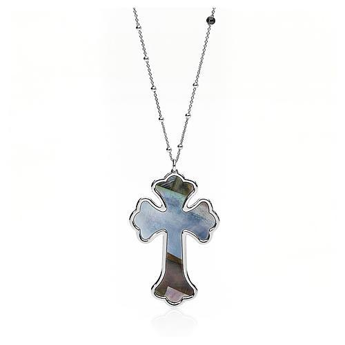 Collana AMEN Croce argento 925 madreperla grigia fin. Rodio 1