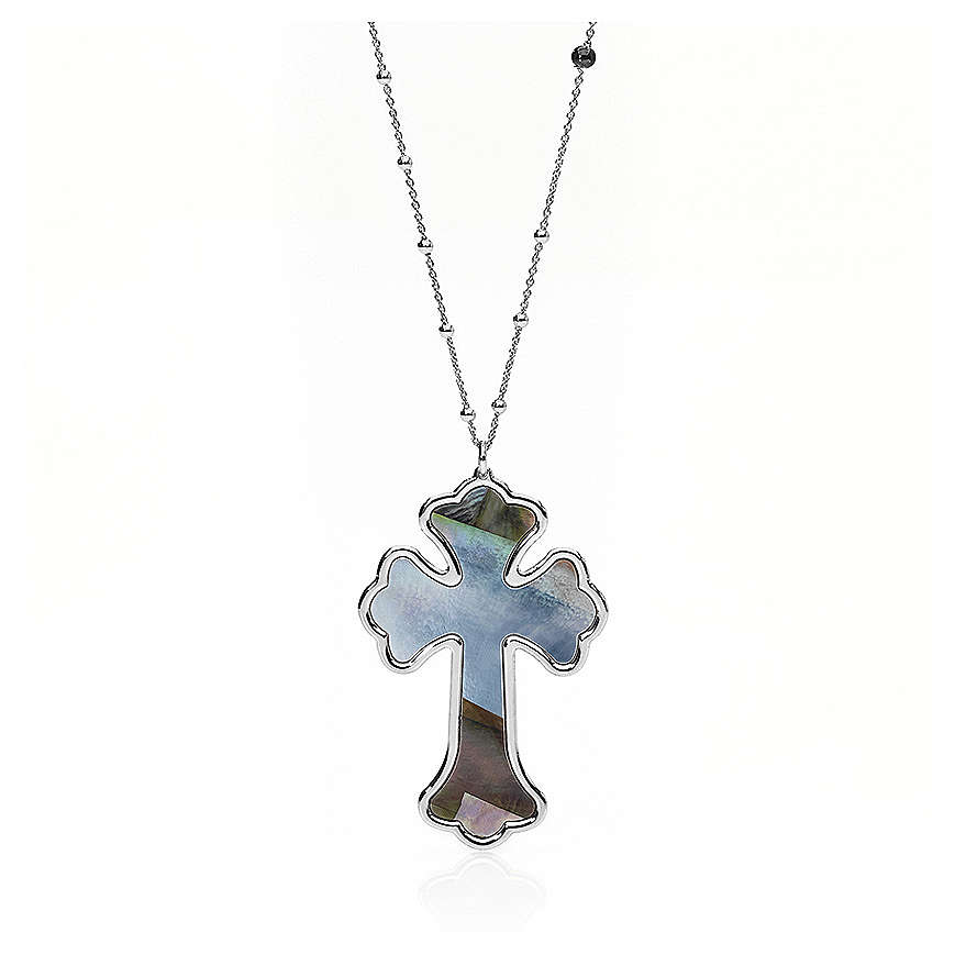 Necklace AMEN Cross silver 925 mother-of-pearl, Rhodium finish 4