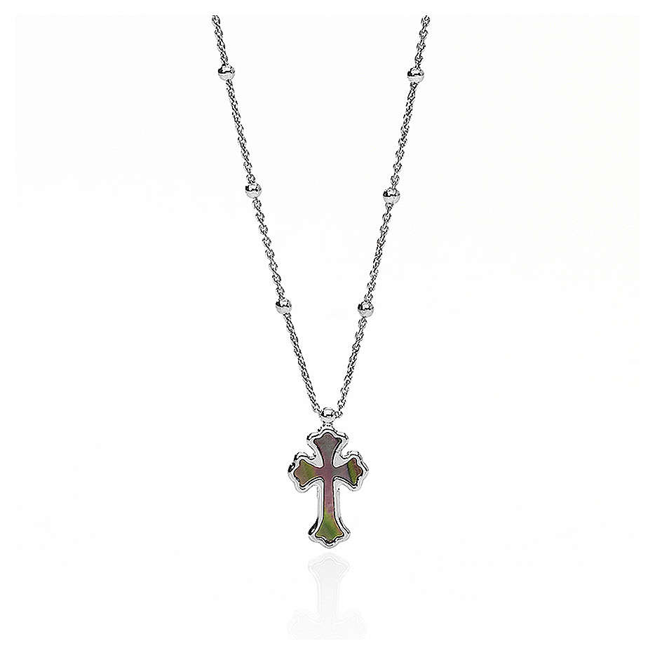 Necklace AMEN Cross silver 925 white mother-of-pearl, Rhodium finish 4