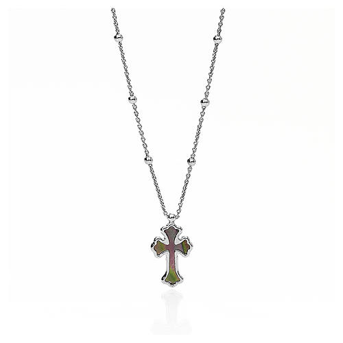 Necklace AMEN Cross silver 925 white mother-of-pearl, Rhodium finish 1