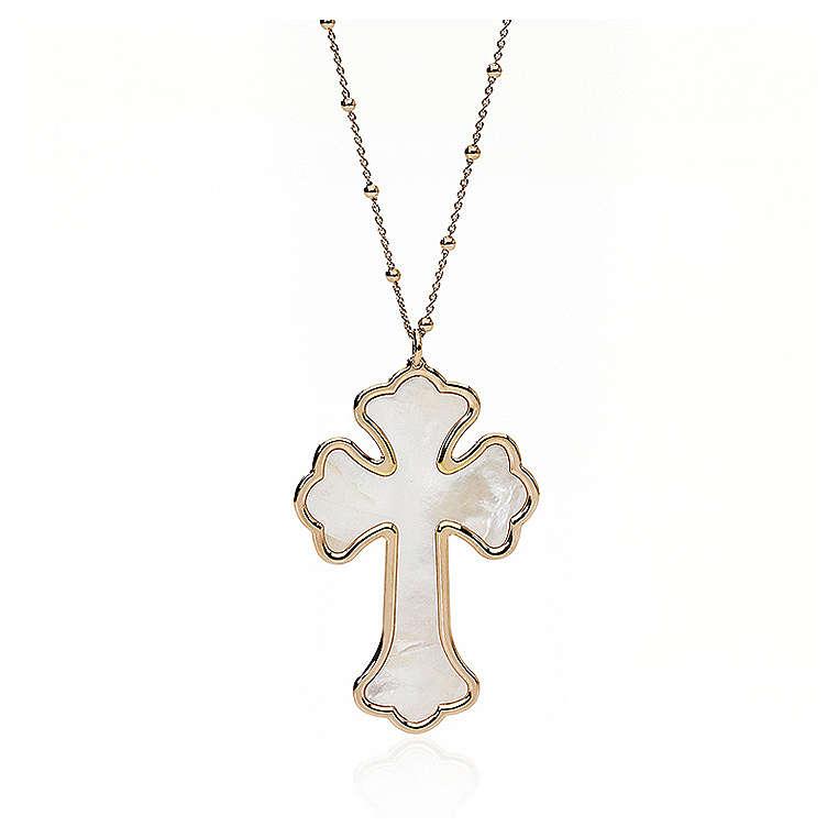 Collana AMEN Croce argento 925 madreperla bianca fin. Rosè 4