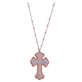 Collana AMEN Croce argento 925 madreperla bianca fin. Rosè s1