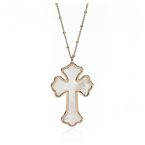 Collana AMEN Croce argento 925 madreperla bianca fin. Rosè 1