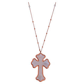 Necklace AMEN Cross silver 925 white mother-of-pearl, Rosè finish s1
