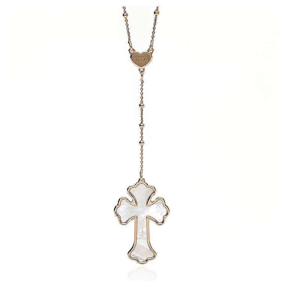 Necklace AMEN Heart & Cross silver 925 white mother-of-pearl, Rosè finish 4