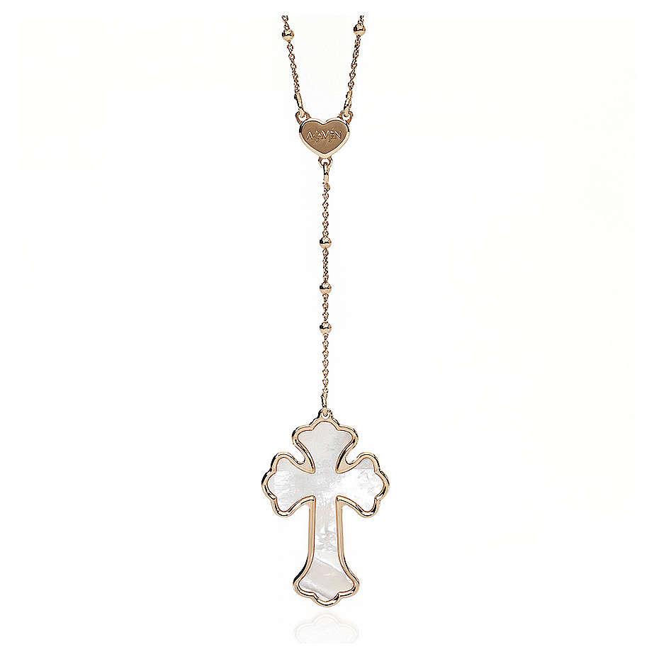 Collana AMEN Cuore e Croce argento 925 madreperla bianca fin. Rosè 4