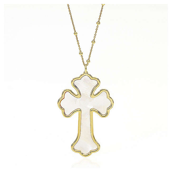 Collar AMEN Cruz plata 925 nácar blanco acabado dorado 4