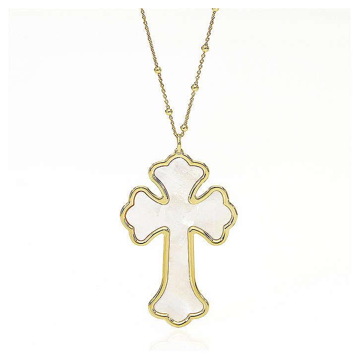 Collana AMEN Croce argento 925 madreperla bianca fin. Oro 4