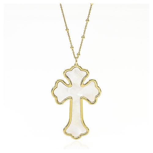 Collana AMEN Croce argento 925 madreperla bianca fin. Oro 1