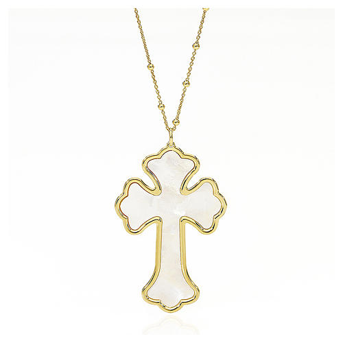 AMEN Necklace silver 925 Cross white mother-of-pearl, golden finish 1