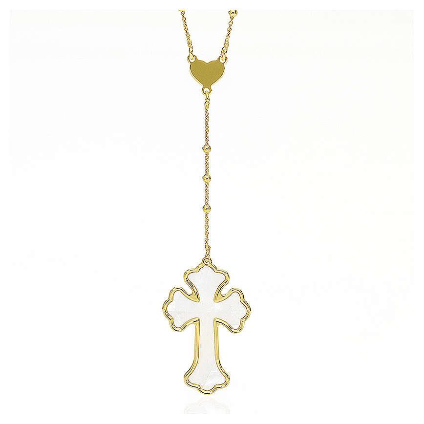 Collana AMEN Cuore e Croce arg. 925 madreperla bianca fin. Oro 4